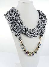 Écharpe FOULARD BIJOU  noir blanc perles NEUF