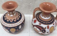 GIANNIS RHODES ORIGINAL - Set of 2 Colorful Pottery Vessels, Incised HandPainted