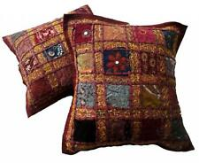 5 Dark Red Indian Embroidery Sequin Patchwork USA Pillow Cushion Covers AICC1064
