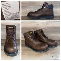 Brazos Work Force Steel Toe Dark Brown Lace Up Ankle Boot Mens Size 14 D