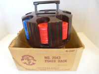 Vintage  Poker Chips and Card Holder Carousel Caddy w/original box