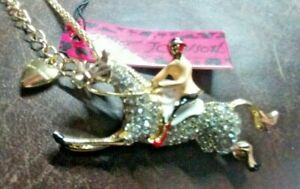Sparkling Crystal Golden Horse Ridden By Jockey Necklace Or Brooch & Gift Box
