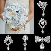 Fashion Crystal Wedding Bridal Bouquet Silver Flower Brooch Pin Womens Jewelry