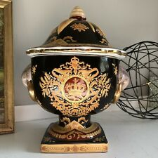 Porcelain Mantel Urn Lidded Black Gold Yellow Red Side Ring Decorative Container