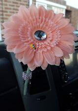 FIAT 500 PINK CAR VASE &15CM PALE PINK GERBERA GEM & BEE. FLOWER  UNIVERSAL  CAR
