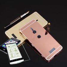Pare-chocs en aluminium de 2 pièces rose + 0,3 H9 verre pour Sony Xperia XZ2