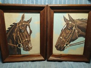 Original 1950's Paint By Number Horse Picture Set