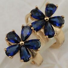 Beautiful Flower Sapphire Blue Topaz Jewelry Yellow Gold Filled Earrings H2535