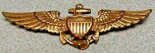 Original Navy Ww2 10K gf Marine Corps Pilot Wings Pin