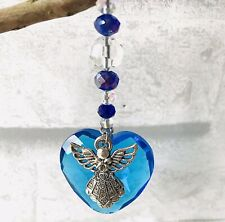 GUARDIAN ANGEL BLUE CRYSTAL GLASS HANGING HEART MEMORY GIFT IN MEMORY CHRISTMAS