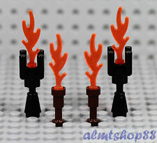 LEGO - 4x Flame Torch Lot - Fire Plume Lightning Bolt Rounded Wave