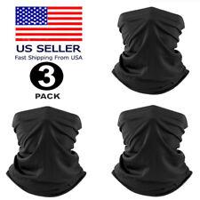 3Pcs Black Multi-use Tube Scarf Bandana Head Face Mask Neck Gaiter Head Wear