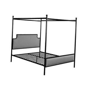 Asa Queen Size Iron Canopy Bed Frame with Upholstered Studded Headboard, Gray