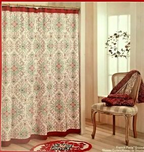 Lenox French Perle Groove Red Green White Holiday Christmas Shower Curtain