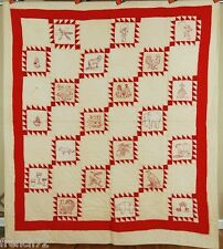 GORGEOUS Vintage 30s Redwork Pictorial Antique Quilt w/ Unusual Sawtooth Frames!
