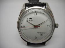 hmt janata hand winding mens steel parashock white dial watch run order.