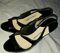 Manolo Blahnik Womens Patent Leather Peep Toe Slingback Pumps Black Size 38