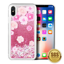 Slim Shock Proof Summer Rose Glitter Waterfall Phone Case Cover For iPhone X/ Xs