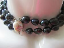 BLACK TAHITIAN GENUINE FRESHWATER PEARLS, DOUBLE ROW, FINISHED WITH WHITE MOP,