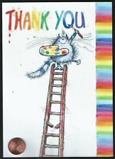 Fuzzy Kitten Cat Painting Ladder Cute Kindness - Thank You Greeting Card - NEW