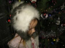 GIRL HAT 100% ANGORA RABBIT BUNNY Longhair fluff handknitted furry fuzzy craft
