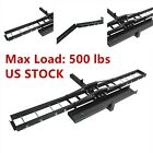 Black Motorcycle Scooter DirtBike Carrier Hauler Hitch Mount Rack Ramp Anti Tilt