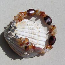"Coffee Agate & Orange Carnelian Gemstone Crystal Bracelet ""Gypsy"""