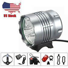 New 10000Lm 5xCREE XML T6 LED Front Head Bicycle Light Headlamp+Tailligh+Battery
