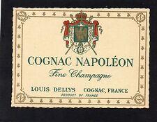 COGNAC VIEILLE LITHOGRAPHIE COGNAC NAPOLEON LOUIS DELLYS FINE CHAMPAGNE §13/09§