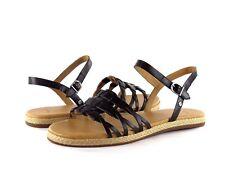 UGG Australia Larisa Black Leather & Jute Ankle Strap Comfort Sandal NEW Size 6