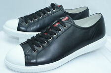 New Prada Mens Shoes Sneakers Vitello Plume Size 7 Calzature Uomo Lace Up Tennis