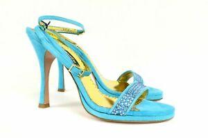 Claudio Milano Francesco Saco Blue Shoes Suede Crystal Made In Italy $420