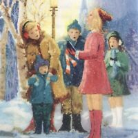 Vintage Mid Century Christmas Greeting Card Glitter Carolers Kids Snowy Night