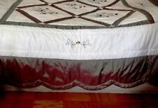 Hollander Luxury Scalloped Border Quilted Coverlet w/Silk Rosebuds & Bugle Beads