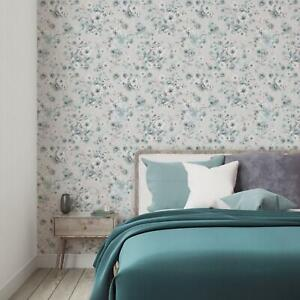 Turquoise Floral Wallpaper Botanic Oliva Collection Heavyweight Wall Covering