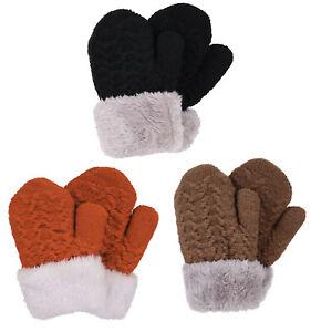 3 Pairs Kids Girls Boys Sherpa Lining Winter Thick Warm Mittens Knitted Gloves