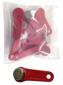 Red Keytabs iButtons for iButton Exaktime Job Site Time Clock