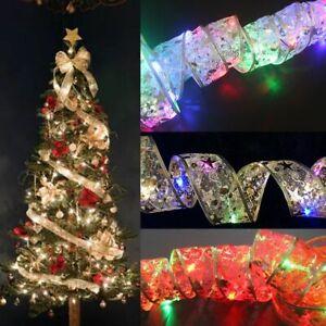 Ribbon Christmas Tree Decorations Xmas Tree Ornaments Ribbon Bows Lights