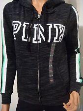 VICTORIA'S SECRET PINK BLACK MARL HOODIE SWEATSHIRT PULLOVER LIMITED EDITION XS