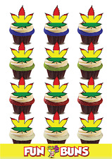 HASH Leaf Rasta Flag Mix Edible Standup Wafer Cake Toppers ADULT Fun Party