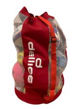 Pd052; Red Mesh/Vinyl Sports Ball Carry Bag; Holds 15 full sized balls