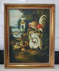 Original Old Vintage Gilt Frame Chickens Oil painting Signed