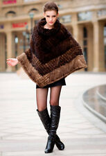 100% Real Genuine Knitted Mink Fur Poncho Cape Coat Outwear Women Vintage Winter