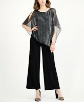 CONNECTED Size 8 Black Silver Metallic Cape-Overlay Jumpsuit NEW MSRP $89