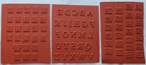 """Lot of 3 Alphabet unmounted Rubber Stamp sets (each letter about 5/8"""")"""