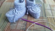 Knitted baby booties, light gray    color, 3-6  months ,unisex