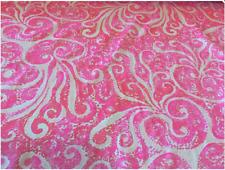 "Lilly Pulitzer Dobby Cotton Fabric Pink Pout Pbj 1 yard X 57"""