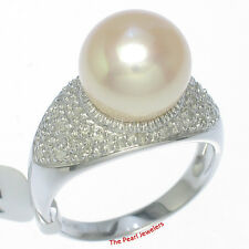 14k White Gold AAA 10-10.5m Romantic Pink Cultured Pearl & Diamond Cocktail Ring