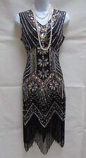1920 STYLE GATSBY VINTAGE CHARLESTON SEQUIN BEADED FLAPPER DRESS 10 12 14 16 18