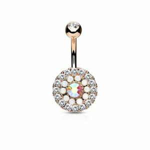 Piercing Navel Multi Crystals And Opals White Gold Plated Pink